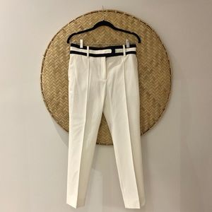 CELINE White/Navy High wasted White Pants.